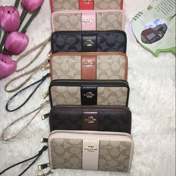 """COACH"" Fashion Cute Multicolor Flower Letter Print Purse Fold Wallet Clutch Bag"