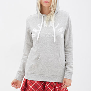 FOREVER 21 Dreaming And Scheming Hoodie Oatmeal/White