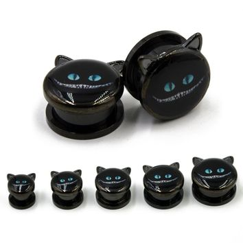 Totoro Cute Cat Ears Design Black Anodized Screw Fit Ear Plug Flesh Tunnels Body Piercing Jewelry Gauges