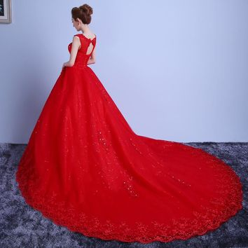 Red White Train Romantic Luxury Wedding Dresses With Tail Bridal High Lace Wedding Dress