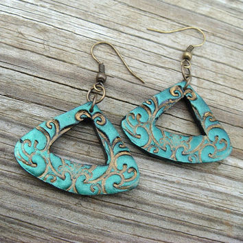Triangle Earrings  Green and Bronze  Polymer Clay by JustClayin