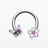 Sweet Butterfly Flower Garden Steel Horseshoe Circular Barbell