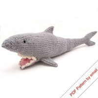 PDF Toy Shark Knitting Pattern Knit Your Own Jaws by NattyKnits