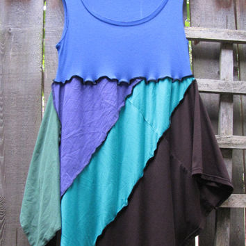 Blue Purple Pixie Tunic Top Lagenlook Upcycled/ Funky Asymmetrical Eco Blouse/ Hi Lo Womens Tops L/XL