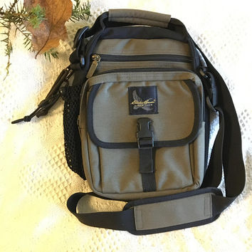 Green and Black Small Backpack Vintage Eddie Bauer Travel Hiking Crossbody Bag Camping Gear Outdoor Tote Multi Pocket Canvas Nylon Organizer