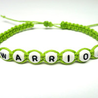 Warrior Bracelet, Lime Green Macrame Hemp, Recovery Jewelry, Mental Health Awareness
