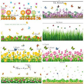 Flowers Foot Line Baseboard Wall Sticker Wall Decal Adhesive Home Decor Art Mural Diy Floor Ground Railing Foot Line