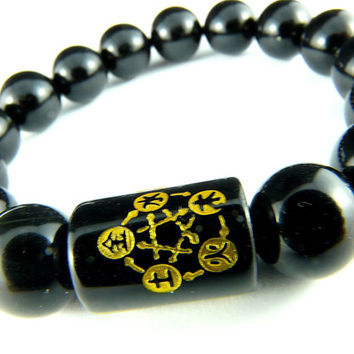 Black and Gold Feng Shui Bracelet With Five Elements and Guardian Spirits - Earth, Metal, Wood, Water, Fire Kanji