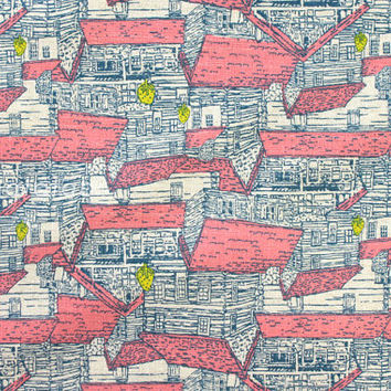 Japanese Fabric - Wooden Houses - salmon pink and yellow on natural