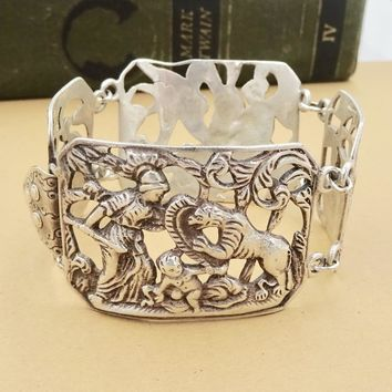 Antique CINI STERLING BRACELET Guglielmo Cini Boston Sterling Silver Cherubs Panel Link Bracelet