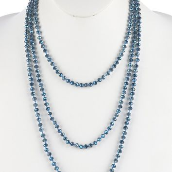 Blue Iridescent Glass Bead Extra Long Wraparound Necklace