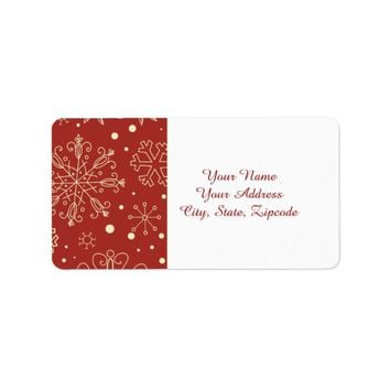Beige Mahogany Christmas Snowflakes Address Labels