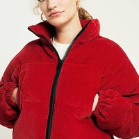 Light Before Dark Red Corduroy Cropped Puffer Jacket | Urban Outfitters