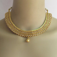 Gold Polki Necklace Set/South Indian Necklace/Bollywood Necklace Set/Ethnic