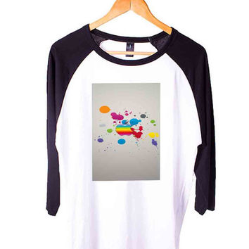 apple red yellow Short Sleeve Raglan - White Red - White Blue - White Black XS, S, M, L, XL, AND 2XL*AD*