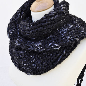 Chunky Black Knitted Scarf Long Tassels Silver Flecks - Made to Order