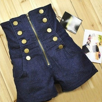 High-Waisted Navy Blue Stretch Denim Sailor Shorts = 1930072580