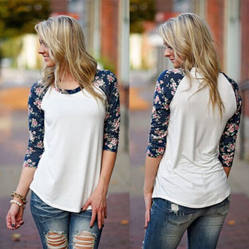 Floral Long Sleeve Round-neck T-shirts Irregular Bottoming Shirt [8077548737]