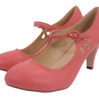60's Retro Vintage Pinup Mary Jane Coral Vegan Suede Cut Out Pumps