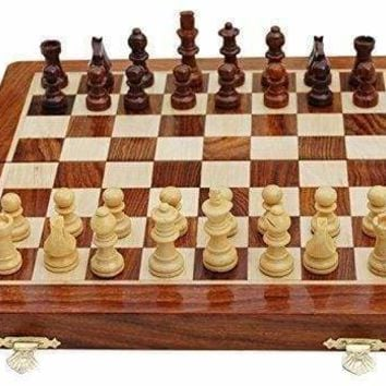 Magnetic Rosewood Folding Chess Set With Storage