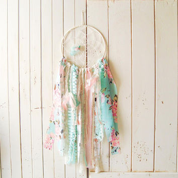 Dream Catcher, Boho Gypsy Dream Catcher, Coral and Mint Wall Hanging, Nursery Decor, Aztec Decor, Arrows and Feathers, Baby Shower Gift