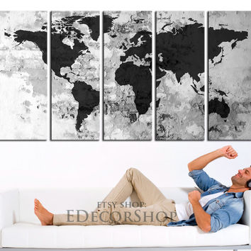 Canvas Print White Backgrounded Black World Map Framed 5 Panel Canvas -  Old Wall on World Map Texture