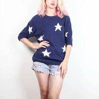 Vintage 1980s Short Sleeve Sweater Navy Blue Off White Star Print Knit Pullover 80s Jumper Preppy Patriotic Americana Chunky Knit M Medium L