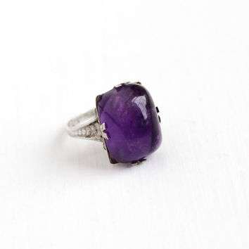 Vintage Art Deco Sterling Silver Amethyst Cabochon Ring - 1920s Size 6 3/4 Unique Purple Gem February Birthstone Uncas Statement Jewelry
