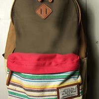 Fashion Folk Style Strip Print Canvas Backpack from styleonline