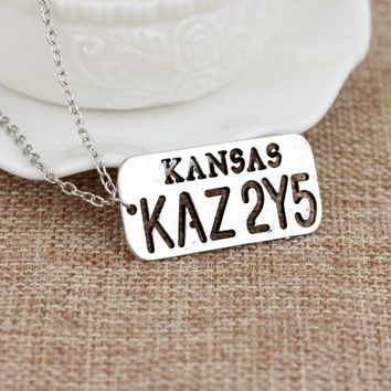 Supernatural Car Number Plate KANSAS KAZ 2Y5 Hollow Star Pendant Dean Winchester Necklace For Lover Wings Angel Wicca Jewelry