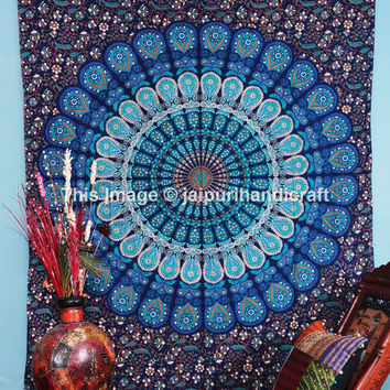 Indian Mandala Tapestry, Indian Wall Hanging, Twin Size Tapestry, Bohemian Wall Hanging, Beach Sheet, Cotton BedCover, Etchnic Decor Art