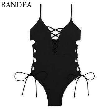 BANDEA sexy cut out monokini women solid swimsuit lace up swimwear print one piece bathing suit bandage push up bodysuit summer