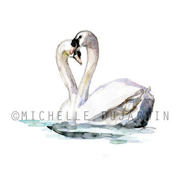 Swan Watercolor Painting - Giclee print - Valentine Art - swans in love -  Swanlake Wedding painting - Animal Painting - Swan Art