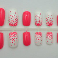 "ON SALE - Artificial Nails - ""Dot Gradient"" -  Coral & White (More Colors Available), Hand Painted, Fake Nails"