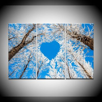 3 Panel Love Heart Shaped Branches Snow Tree Home Decor Bed Room Wall Art