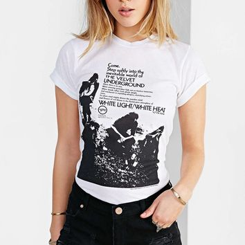 "White ""THE VELVET UNDERGROUND"" Print T-Shirt"