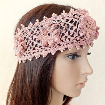 OOAK Irish Lace 3D Crochet Headband Dreadlock Head Wrap Boho Pink Rose Wood Beaded Women Ivory Wedding Bridal Cotton Hair Snood