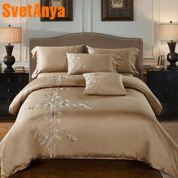 Svetanya bamboo Embroidered Bedlinen Queen King 100% Egyptian Cotton Duvet Cover+Bedsheet+Pillowcase 4pc Bedding Set