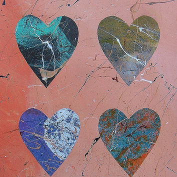 Abstract Heart Painting Original Modern Art Love Hearts Rich Jewel Pastel Colors Salmon Pink Blue Paint Splashes Collage Romantic Minimal