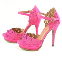 Origami Hot Pink Scalloped Heels-OUT OF BOX
