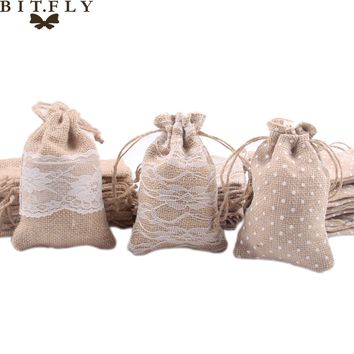 Rustic Wedding Lace Burlap Gift Bag
