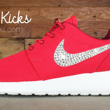 Women's Nike Roshe One Casual Shoes By Glitter Kicks - Customized With Swarovski Crystal Rhinestones - Red/White