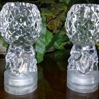 LED DECORTIVE LIGHTS: Designers Small Crystal Domes With AMBER LED Lights. Also CANDLE HOLDER, Turn