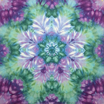 madala tie dye tapestry wall hanging purple green teal