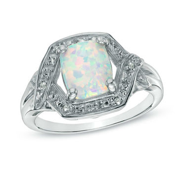 Cushion-Cut Lab-Created Opal and White Topaz Ring in Sterling Silver