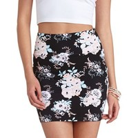 HIGH-WAISTED FLORAL MINI SKIRT