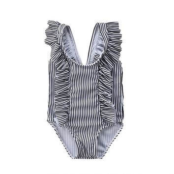Infant Kids Striped 2018 new One Piece bikinis Swimwear bodysuits Baby Girls Children Bathing suits Ruffles Beach Wear swimsuits