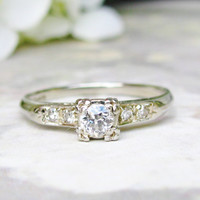 Art Deco Engagement Ring European Cut Diamond 14K White Gold Diamond Wedding Ring Fishtail Prongs Antique Engagement Ring Bridal Jewelry!