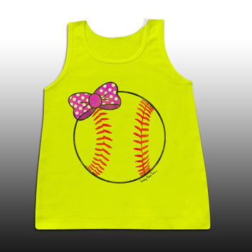 Sassy Frass Cute Softball Bow Girlie Bright Comfort Colors Tank Top