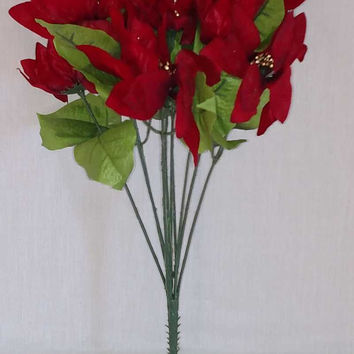 Soft Pointed Red Poinsettia Bush - 18 Inch - On Sale!!